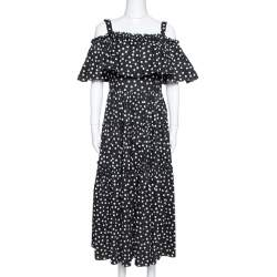 Dolce & Gabbana Black Pois Print Cotton Tiered Maxi Dress M