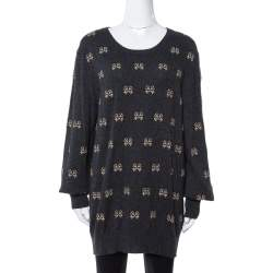 Dolce & Gabbana Charcoal Grey Key Embroidered Cashmere Sweater L