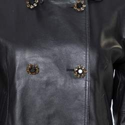 Dolce & Gabbana Black Leather Detachable Collar Detail Jacket S