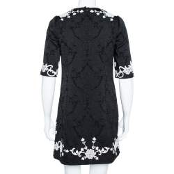 Dolce & Gabbana Black Jacquard Contrast Floral Lace Shift Dress S