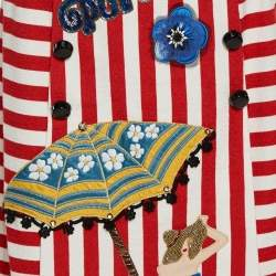 Dolce & Gabbana Bicolor Striped Cotton Embellished Maxi Skirt S