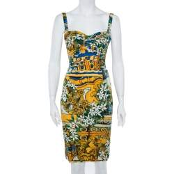 Dolce & Gabbana Multicolor Floral Print Silk Sleeveless Dress S