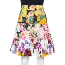 Dolce & Gabbana Multicolor Floral Print Cotton Mini Skirt L