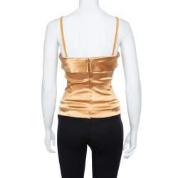 Dolce & Gabbana Gold Satin Corset Top S