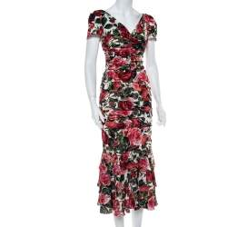 Dolce & Gabbana Multicolor Floral Printed Silk Crepe Ruched Midi Dress S