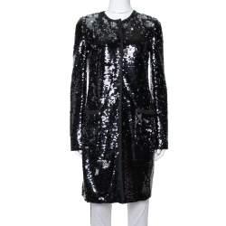 Dolce & Gabbana Black Sequin Embellished Mid Length Jacket S