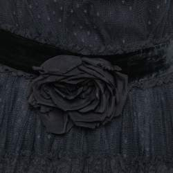 Dolce & Gabbana Black Tulle Ruffle Lace Detail Flared Maxi Dress S