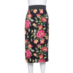 Dolce & Gabbana Black Crepe Floral Printed Pencil Skirt L