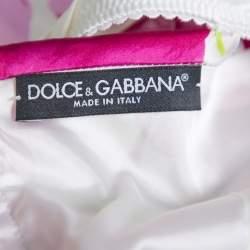 Dolce & Gabbana Purple Floral Printed Silk Satin Ruched Midi Dress M