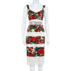 Dolce & Gabbana Hydrangea Printed Crepe & Paneled Lace Cropped Top & Skirt Set S