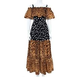 Dolce & Gabbana Two Tone Polka Dot & Leopard Printed Cotton Off Shoulder Dress S