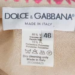 Dolce & Gabbana Vintage Beige Knit Contrast Trim Crochet Button Front Cardigan L