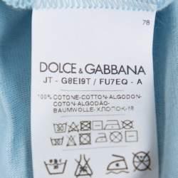 Dolce & Gabbana Blue Cotton Crewneck T Shirt L