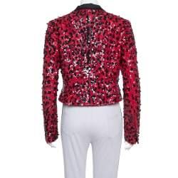 Dolce & Gabbana Red & Black Sequin Embellished Jacket M