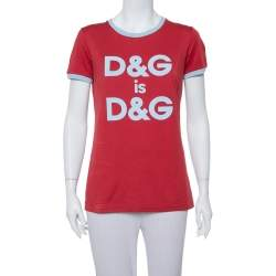 Dolce & Gabbana Red Logo Printed Cotton Contrast Detail T Shirt S
