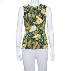 Dolce & Gabbana Green Pear Printed Crepe Tank Top S