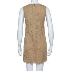Dolce & Gabbana Beige Cotton Floral Lace Overlay Sleeveless Shift Dress S