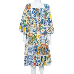 Dolce & Gabbana Multicolor Majolica Printed Cotton Flared Midi Dress S