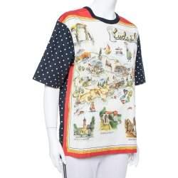Dolce & Gabbana Capri Navy Blue Cotton Multiprint Crewneck Boxy Top S