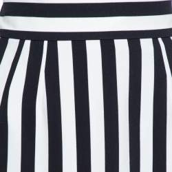 Dolce & Gabbana Monochrome Striped Crepe Maxi Skirt L