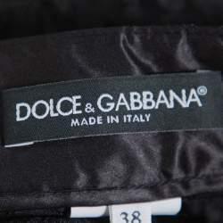 Dolce & Gabbana Black Floral Jacquard High Waist Cigaratte Trousers S
