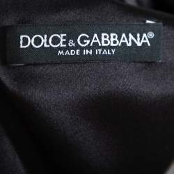 Dolce & Gabbana Black Printed Crepe Sheath Dress M