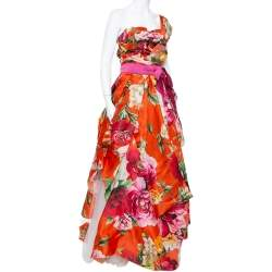 Dolce & Gabbana Red Floral Print Silk One Shoulder Gown M