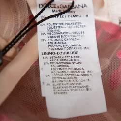 Dolce & Gabbana Beige & Pink Tulle Floral Applique Detail Gown L