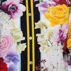 Dolce & Gabbana Multicolor Floral Printed Cotton Contrast Trim Detail Shirt M