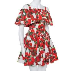 فستان دولتشي أند غابانا ميني بدون أكتاف مكشكش قطن طباعة زهور أحمر مقاس صغير جداً