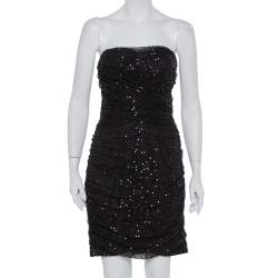 Dolce & Gabbana Black Sequin Embellished Tulle Ruched Strapless Mini Dress L
