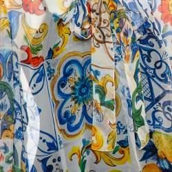 Dolce & Gabbana White Majolica Printed Silk Neck Tie Detail Top XL