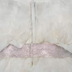 فستان زفاف دولتشي أند غابانا مزين حزام مزخرف حرير كرانيش أبيض مقاس صغير (سمول)
