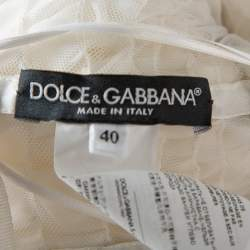 Dolce & Gabbana White Ruffled Silk Embellished Belt Detail Wedding Gown S