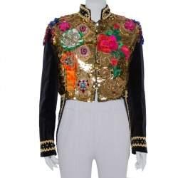 Dolce & Gabbana Navy Blue Floral Sequin Embellished Velvet Tailcoat S