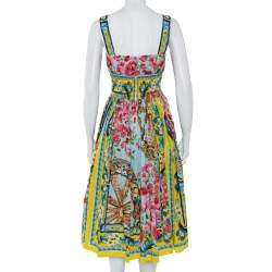 Dolce & Gabbana Floral Print Smocked Waist Sleeveless Cotton Poplin Dress S