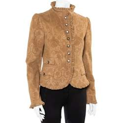 Dolce & Gabbana Brown Corduroy Ruffle Detail Button Front Jacket M
