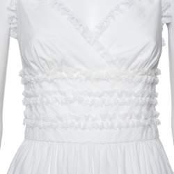 فستان دولتشي أند غابانا قصير طبقات مزين حافة دانتيل قطن أبيض مقاس صغير (سمول)