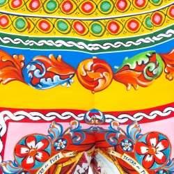 Dolce & Gabbana Multicolor Caretto Printed Silk Cropped Pants S