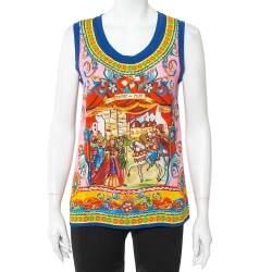 Dolce & Gabbana Multicolor Caretto Printed Silk Tank Top S