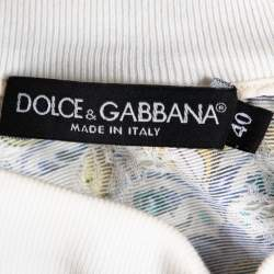 Dolce & Gabbana Multicolor Majolica Printed Textured Cotton Oversized Crop Top S