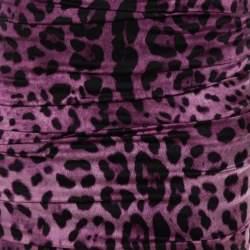 فستان دولتشي آند غابانا ساتان بنفسجي سترتش مكشكش مطبوع نقشة الفهد بلا أكمام مقاس صغير -سمول
