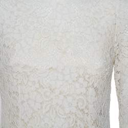 Dolce & Gabbana White Lace Flared Maxi Dress M