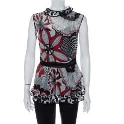 Dolce & Gabbana Multicolor Printed Cotton & Silk Ruffle Detail Sleeveless Top M