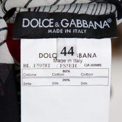 Dolce & Gabbana Multicolor Printed Cotton & Silk Ruffle Detail Sleeveless Top M