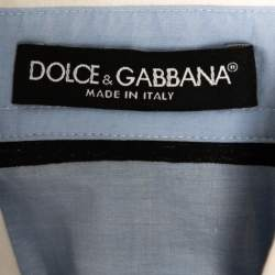 Dolce & Gabbana Blue Striped Cotton Cropped Button Front Shirt M