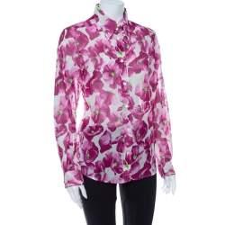 Dolce & Gabbana Purple Hydrangea Printed Cotton Button Front Shirt L