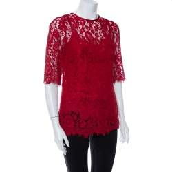 Dolce & Gabbana Red Lace Quarter Sleeve Top M