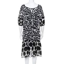 Dolce & Gabbana Monochrome Leaf Printed Silk Ruffled Midi Dress M