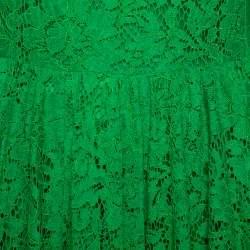 فستان دولتشي أند غابانا قصير أكمام طويلة دانتيل أخضر مقاس وسط (ميديوم)